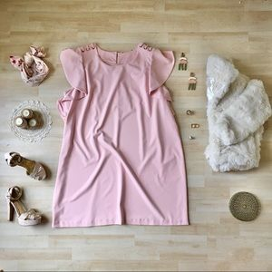 Dresses & Skirts - Blush dress with ruffle sleeves & laced shoulders